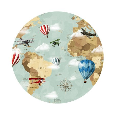 Painel de Festa Redondo Mapa-múndi Balões