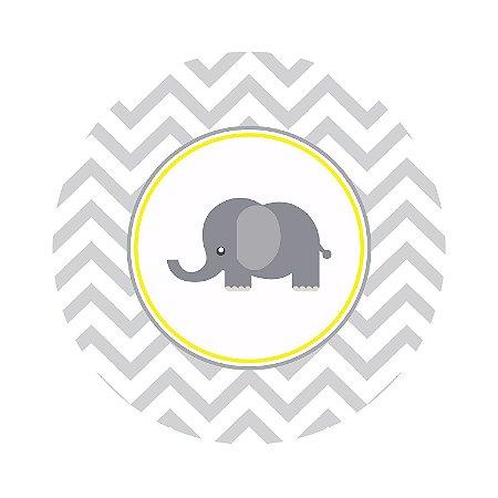 Painel de Festa Redondo Elefante Zig Zag Cinza