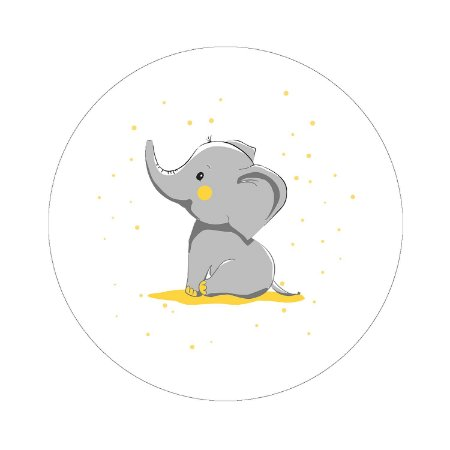 Painel de Festa Redondo Elefante Glitter