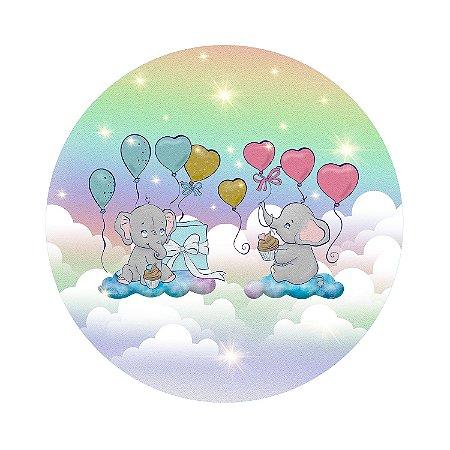 Painel de Festa Redondo Elefante Nuvens Arco Íris
