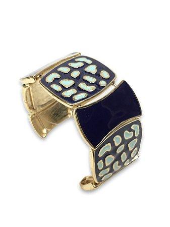 Bracelete aberto esmaltado marinho detalhe turquesa