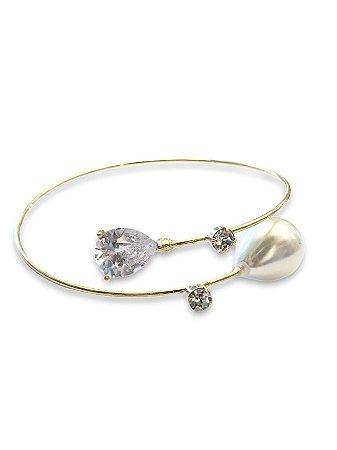 Bracelete pérola com detalhe cristal