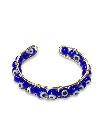 Bracelete metal dourado com olho grego