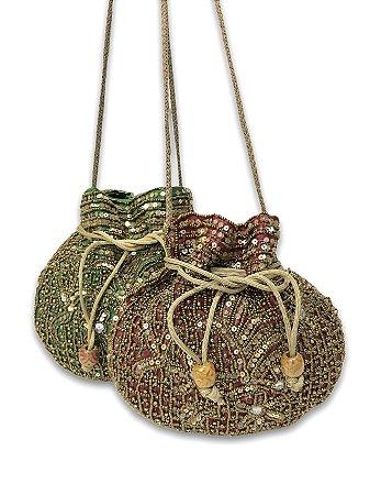 Bolsa indiana miçangas com lantejoulas