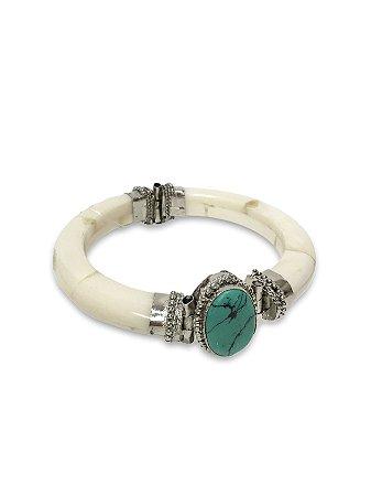 Bracelete osso pedra turquesa marmorizada