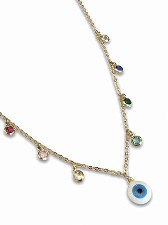 Colar choker olho grego com cristais color