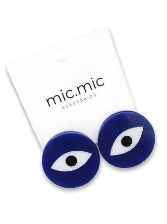Brinco botão bic com olho grego