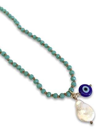 Colar cristais turquesa pingentes madre-perola e olho grego