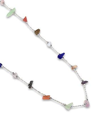 colar semi-jóia pedrinhas color  murano
