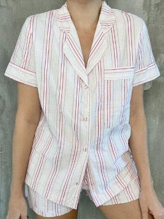 SleepWear golinha curto listra pink - 100% algodão