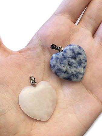 Pingente coração pedra natural