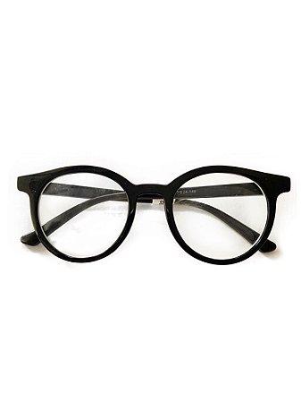 Óculos preto lente transparente