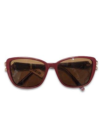 Óculos vinho lente marrom detalhe dourado na lateral