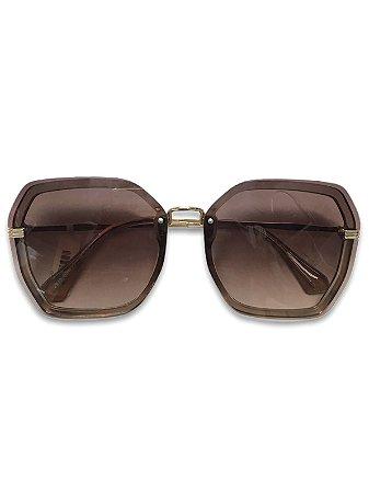Óculos hexagonal detalhe dourado lente degradê