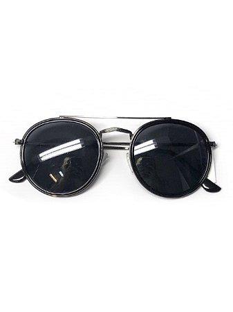 Óculos arredondado metal grafite