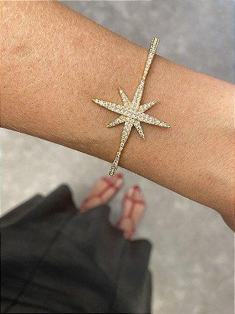 Pulseira aro estrela cravejada