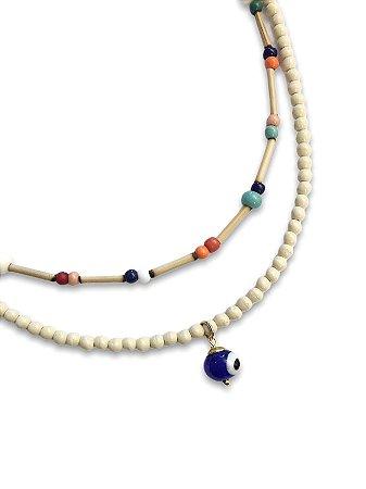 Kit colares miçangas e bambu detalhe pingente olho grego