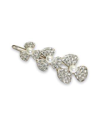 Presilha flor cravejado detalhe pérolas