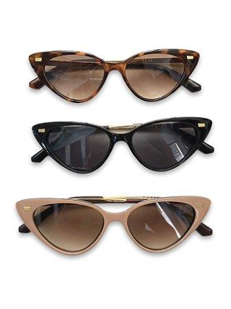 Óculos gatinho detalhe dourado