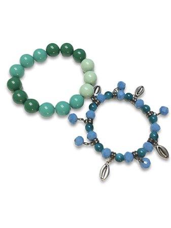 kit pulseira verde cristais azul pingente búzios metal