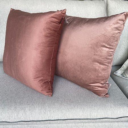Duo De Almofadas Rose Decortextil Veludo Soft Liso Decoração