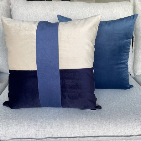 Duo De Almofadas Azul Decortextil Veludo Soft Decoração
