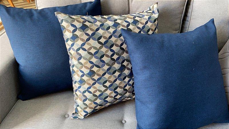Trio de almofadas azuis