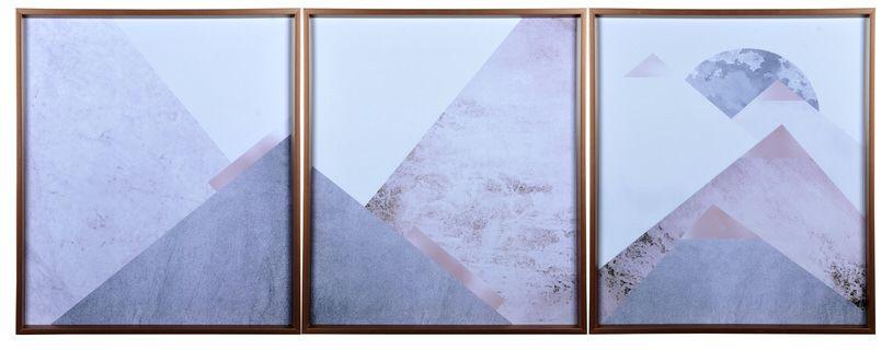 Trio De Quadros Veredas Decorativo Abstrato Rose e Vidro