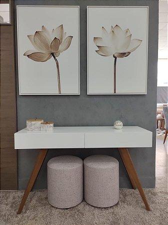 Conjunto Tela Canvas Tulipa branca