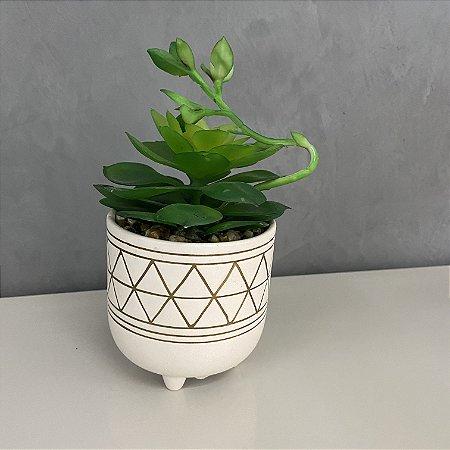 Cachepot em cerâmica com suculenta