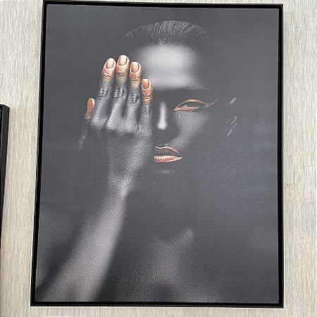 Tela Africana Art e Design Quadro Decorativo Bronze Preta