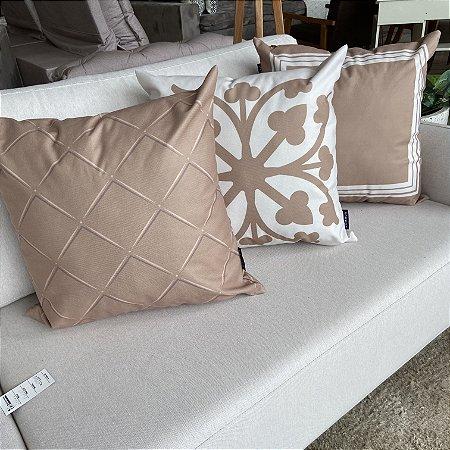 Kit Com 3 Almofadas Dommun Bronze Com Branco Estampas 50x50