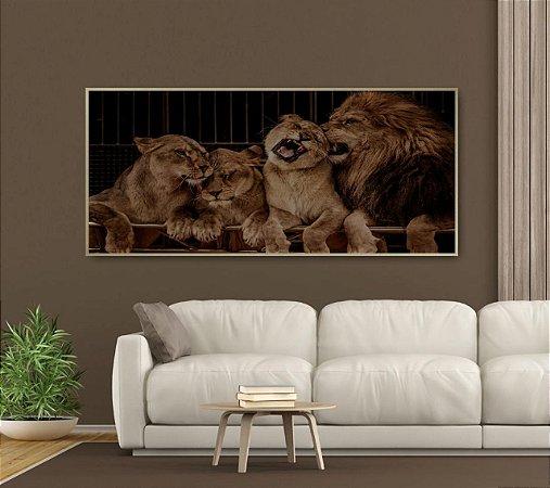 Quadro Pintura Família Leão Varedes Com Moldura e Vidro