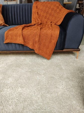 Manta De Tricô Ocre Decorativa Decortextil Super Conforto