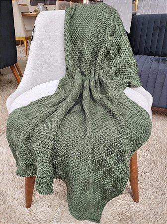 Manta de Tricô Verde