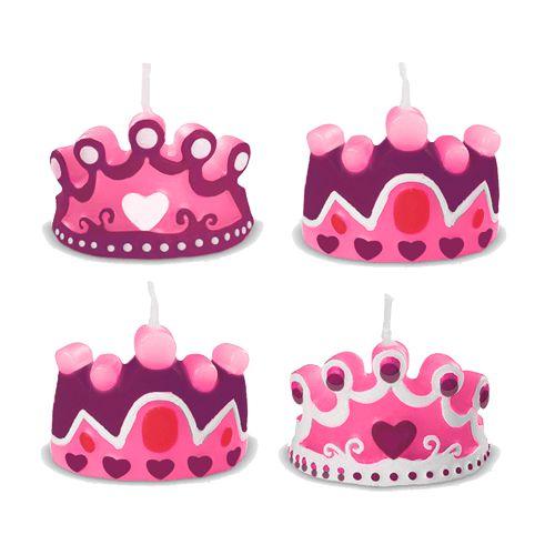 Vela para Aniversário de Princesa Realeza com 4 unid