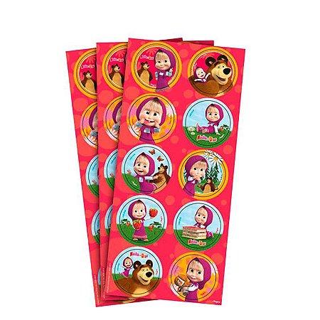 Adesivo para Lembrancinhas Masha e Urso kit 3 cartelas