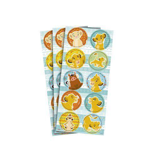 Adesivo para Lembrancinhas Rei Leão kit com 3 Cartelas.