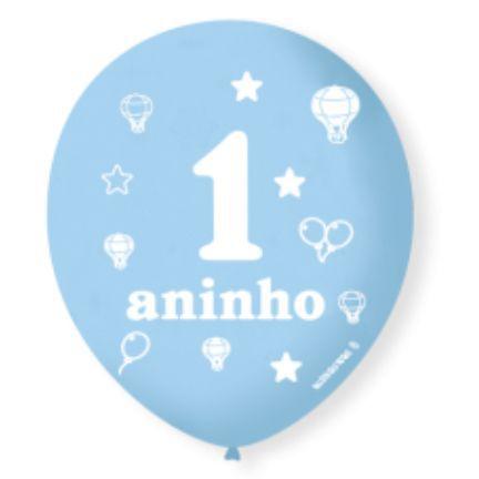 Balão Bexiga Decorada 1 aninho Azul N 9 pct com 25 unid
