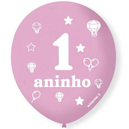 Balão Bexiga Decorada 1 aninho Rosa N 9 pct com 25 unid