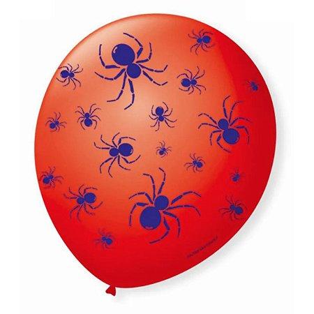 Balão Bexiga Decorada Aranha Vermelha e Azul N9 pct com 25 unid