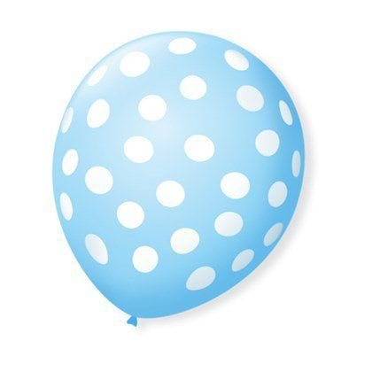 Balão Bexiga Decorada Azul Bolinha Branca N 9 pct com 25 unid