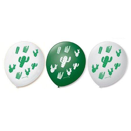 Balão Bexiga Decorada Cacto N9 pct com 25 unid