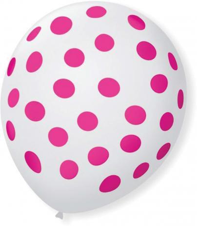 Balão Bexiga Decorada Cristal com Bolinha Rosa N 9 pct com 25 unid