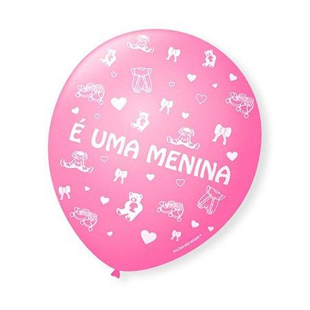 Balão Bexiga Decorada É uma Menina pct com 25 unid