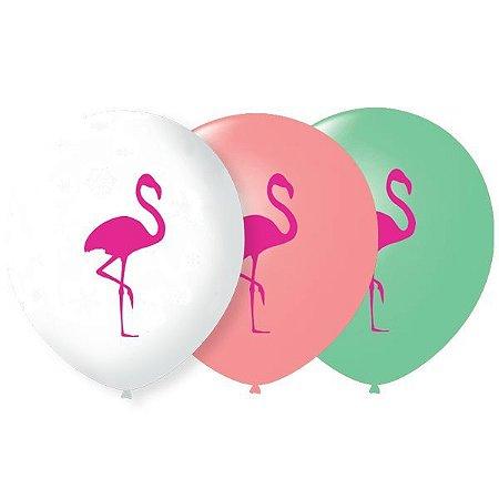 Balão Bexiga Decorada Flamingo N9 pct com 25 unid