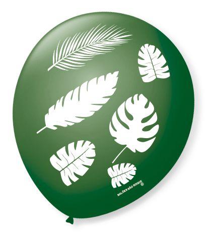 Balão Bexiga Decorada Folhas Tropical N 9 pct com 25 unid
