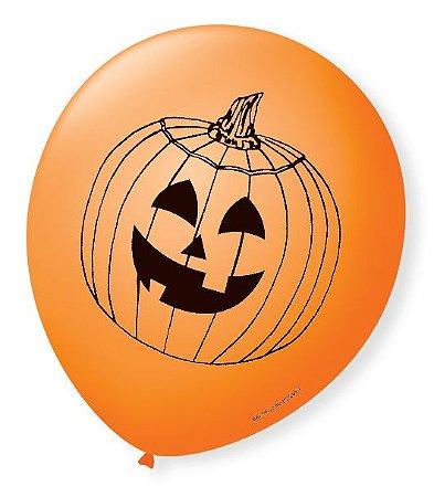Balão Bexiga Decorada Halloween Laranja N9 pct com 25 unid
