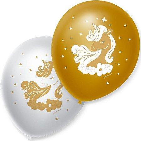 Balão Bexiga Decorada Unicórnio Dourado N9 pct com 25 unid
