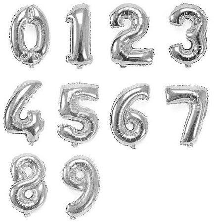 Balão de Número Metalizado Prata 40 cm